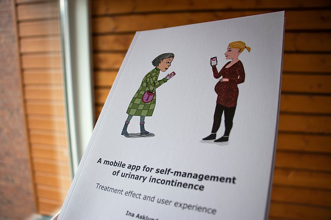 Framsidan på en avhandling med texten A mobile app for self-management of urinary incontinence: treatment effect and user experience